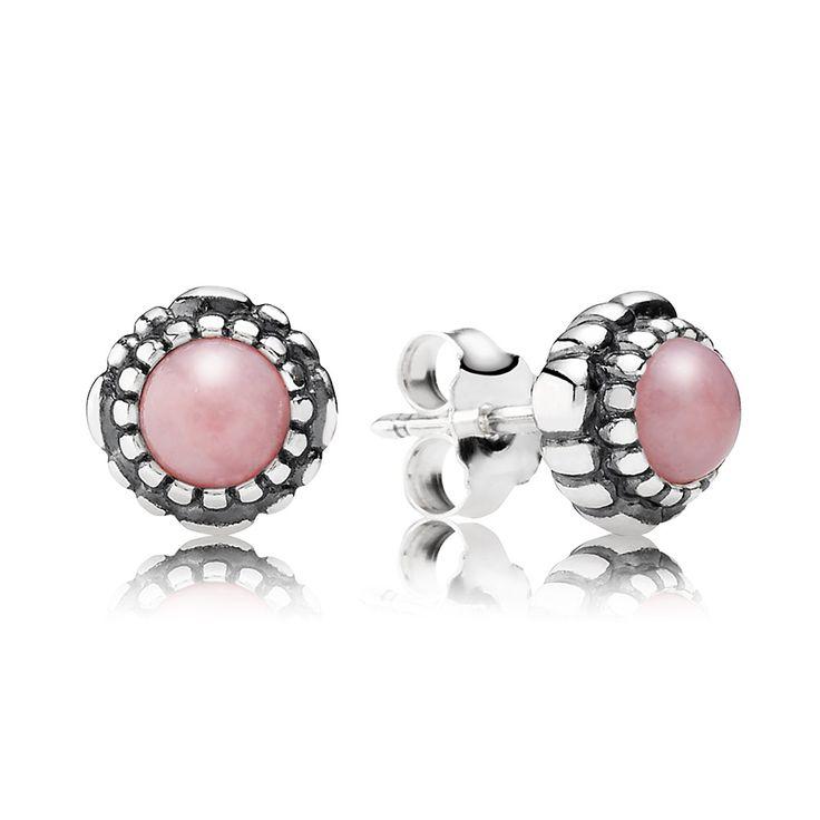 Birthday Blooms, October, Pink Opal - 290543POP - Earrings | PANDORA