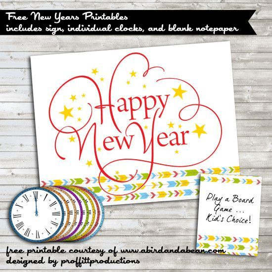 New Years Eve Party {Free Printable} - Includes sign, individual clocks and blank note paper!