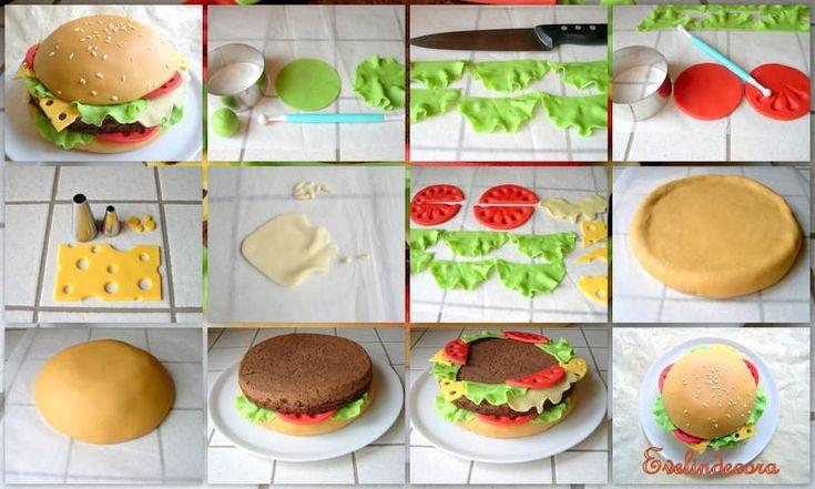 3D Hamburger Cake Tutorial by Evelindecora