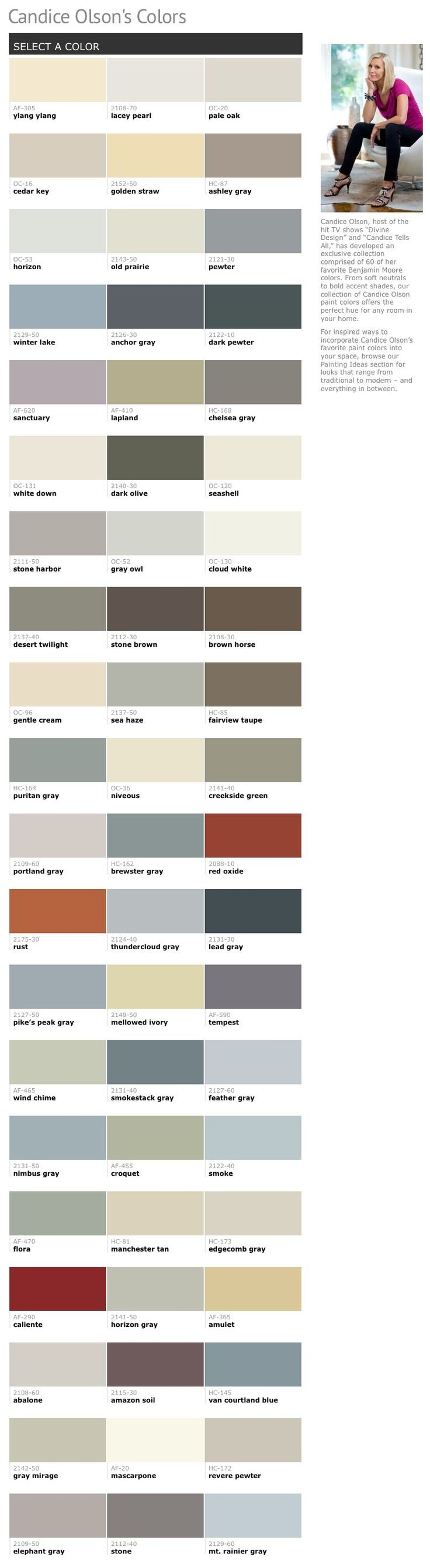 Candice Olson's Favorite Paint Colors from Benjamin Moore