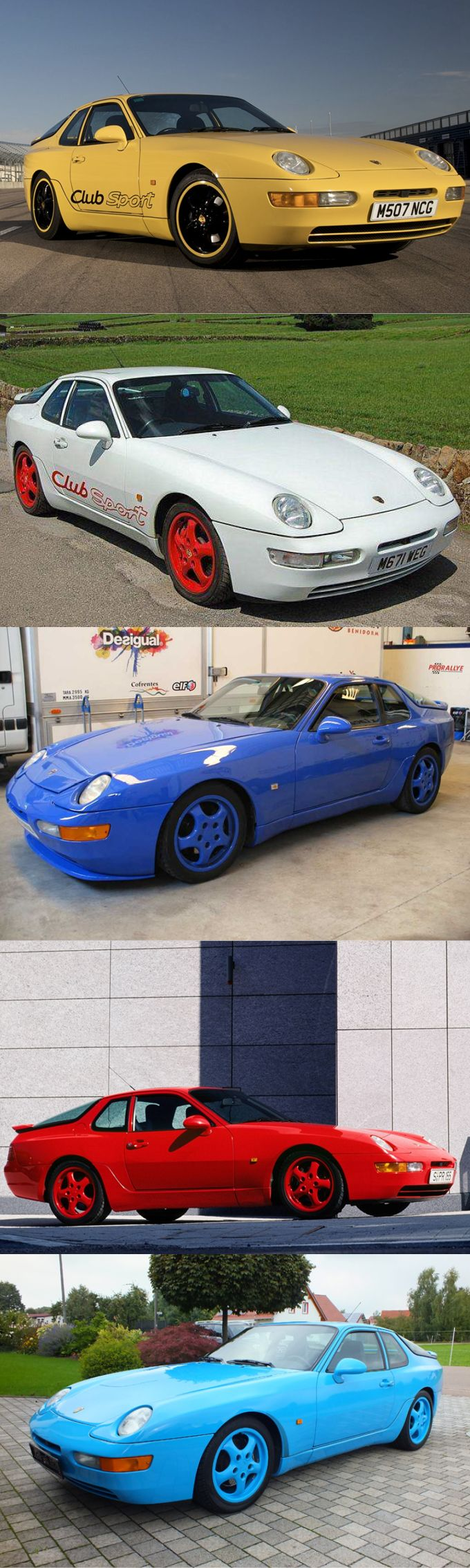 1993 Porsche 968 CS / Club Sport / Germany / yellow blue white red