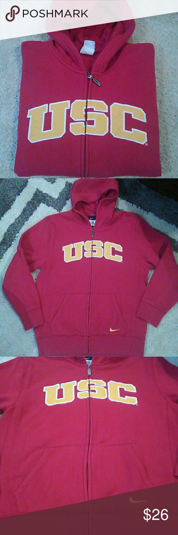 University Southern California Nike Hoodie USC Trojans University Of Southern California Nike hoodie. Kangaroo pockets in front. Nothing on back. More pictures provided if needed. I wore this once or twice. Child's size 16/18. Fits an adult small. Nike Jackets & Coats