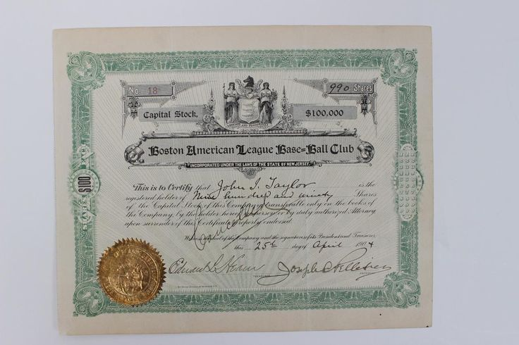 SOLD 1904 Boston Americans (Red Sox) American League Base Ball Club Capital Stock Certificate - Issued During Ownership Transfer to John I. Taylor