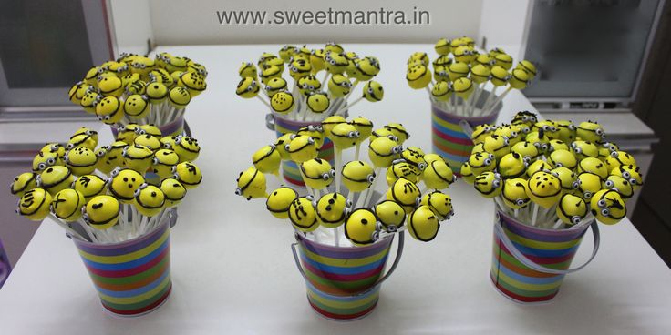 Homemade Eggless Minions theme birthday Cake Pops - perfect mini dessert for a kids birthday party