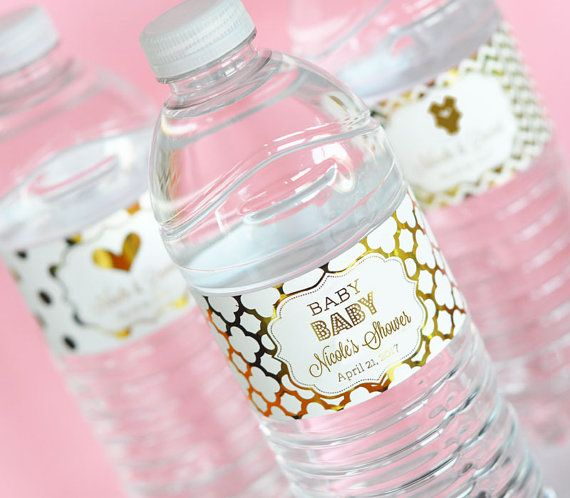 Baby Shower Water Bottle Labels Pink And Gold Baby Shower Birthday Party  Labels   Personalized Baby Shower Decor Set Of 12 By ModParty On Etsy