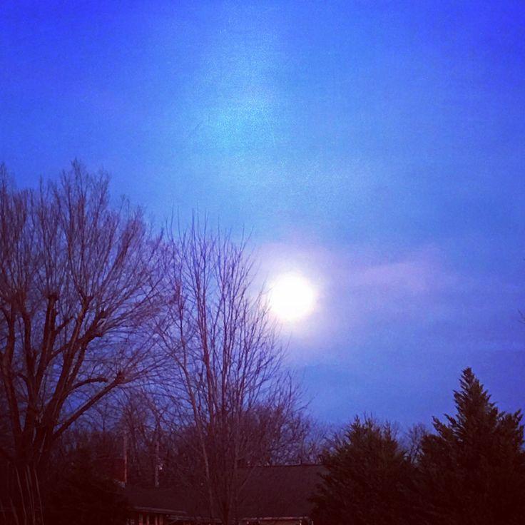 Super Blue Blood Moon 12 hours before the big event.  Taken in Pittsburg, Kansas on 1/30/18.  #Moon #superbluebloodmoon #beautifulevening #beautifulnight #nightsky #trees #Tuesday #January #Pittsburg #Kansas #SuperBlueBloodMoon