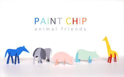 DIY paint chip animals for kids by Merrilee of Mer Mag for Handmade Charlotte