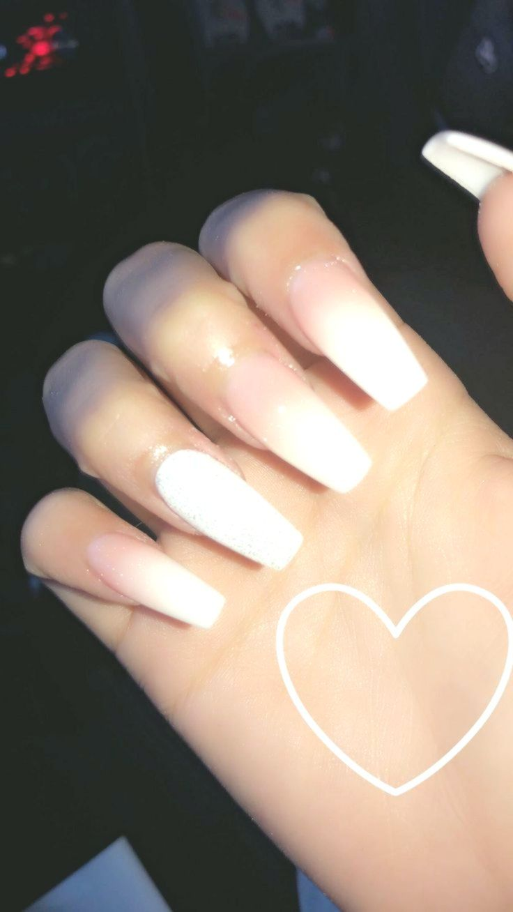 Ombre Nails Pink Powder With White White Glitter On Ring Fingers Longnails Longnailideas Longcoffinnails Ombre Nails Long Nails Pink Nails