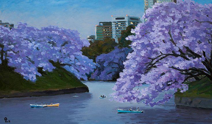 "Pham Luan - Purple AfternoonOil on Canvas - 135cm x 80cm Exhibition - ""Seasons of Japan"" ANA InterContinental Tokyo Nov. 10, 2016 - Feb. 5, 2017 InquiryPin it"