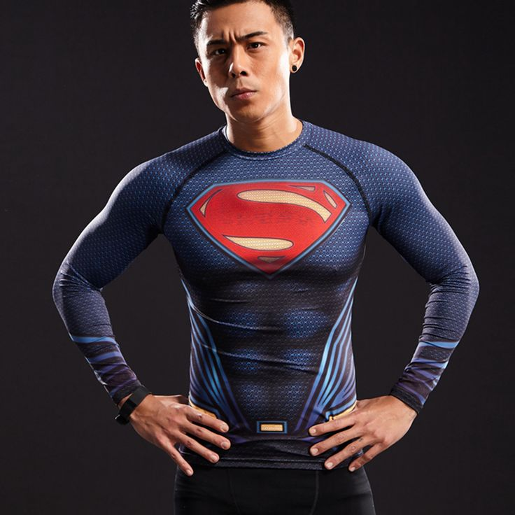 cool Rashguard Superman GYM Crossfit Boys Male Men  -  Rashguard Superman GYM Crossfit Boys Male Men looks like natural superhero gear! Fits perfectlyrash guard tee shirtis ideal for sport and daily usage. This shirt containslycra, which allows material stretch to the several sizes and comes back to normal size. Perfectly breathtissue, the color doesn't fade over time.