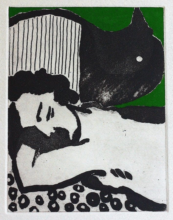 Dreamer in green etching by Rushka Gray
