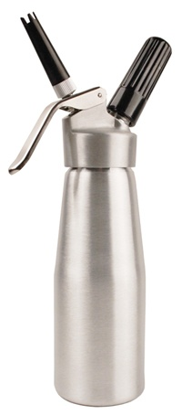 The WhipRite full pint (500 ml) brushed aluminum finish whipped cream dispenser is one of the best values of any compact whipped cream maker available. Unlike other lower priced nitrous oxide charged cream dispensers, the WhipRite features a heavy-duty aluminum head . This economical and functional cream dispenser is a great bargain and will provide reliable service.