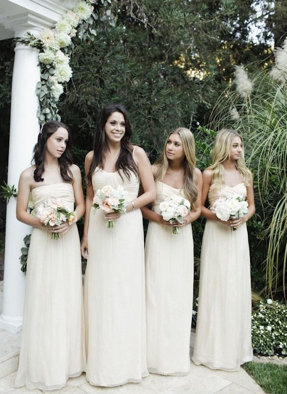 Long Strapless Flowing Cream Bridesmaid Dresses Too Bridal M S Wedding Bridesmaids