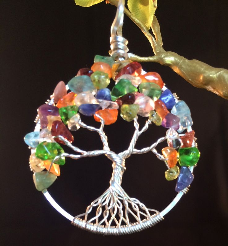 Tree of Life Necklace Pendant Mixed Gems on Sterling Silver Wire by inthenowdesigns1 on Etsy