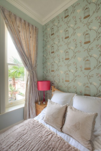 Duck Egg blue, birdcage and free bird motif wall paper. [would be lovely in conservatory]