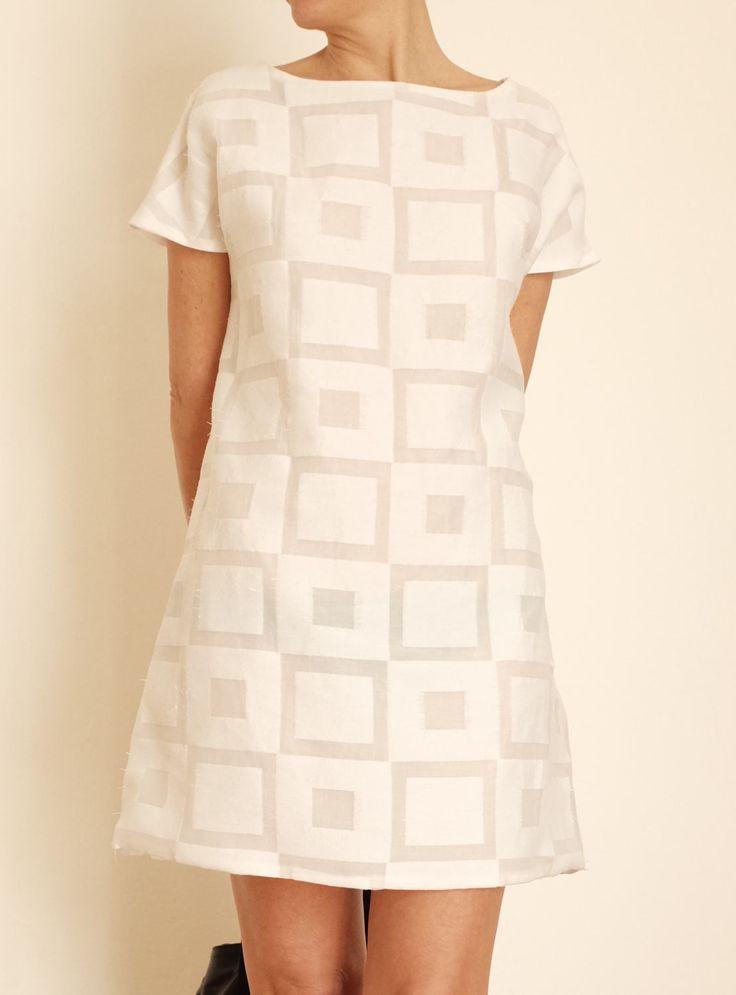 Vestitino Bianco in Cotone - Miniabito Estivo - Vestito Corto - Vestito Leggero - Vestito Fresco - Vestito a Trapezio - Abito Corto a A di atelierPop su Etsy