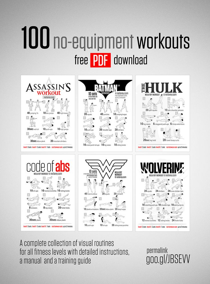 Free 100 No-Equipment Workouts A complete collection of visual routines for all fitness levels with detailed instructions, a manual and a training guide.