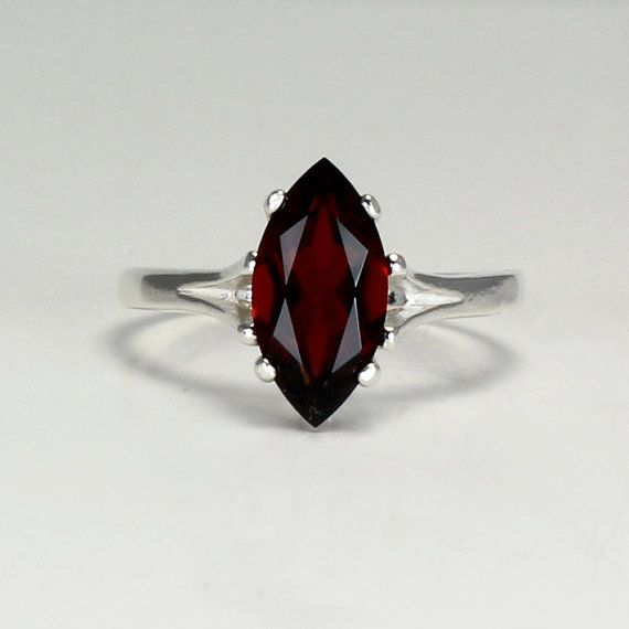 Sterling Silver Garnet Ring / Natural Garnet Silver Ring January Birthstone FREE RE-SIZING