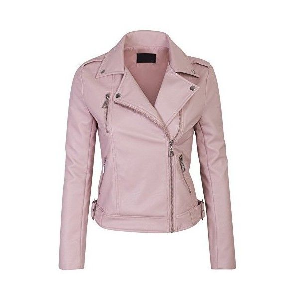 Kogmo Women's Faux Leather Zip Up Everyday Bomber Jacket ❤ liked on Polyvore featuring outerwear, jackets, faux-leather bomber jackets, synthetic leather jacket, bomber jacket, pink faux leather jacket and fake leather jacket