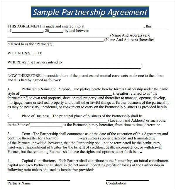 Partnership Agreement Template Free Business Letter Format Throughout Template For Business Partnership Ag Business Letter Format Contract Template Lettering