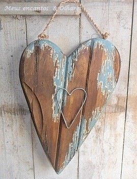 Wooden painted heart