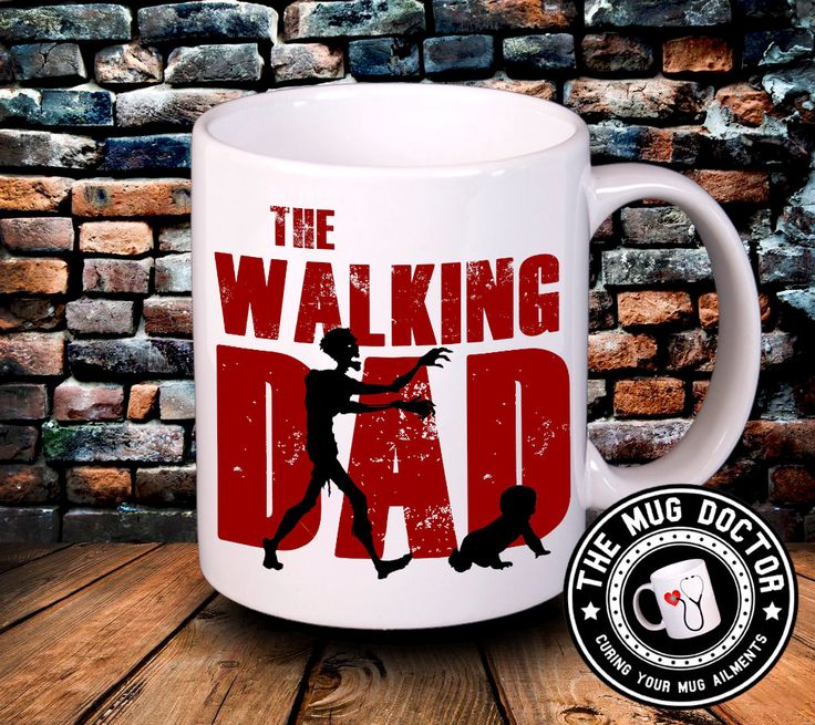 The walking dad mug, fun mug, gift for dad, fathers day gift, funny mug, movie mug, zombie mug, zombie, gift for him, by TheMugDoctor on Etsy