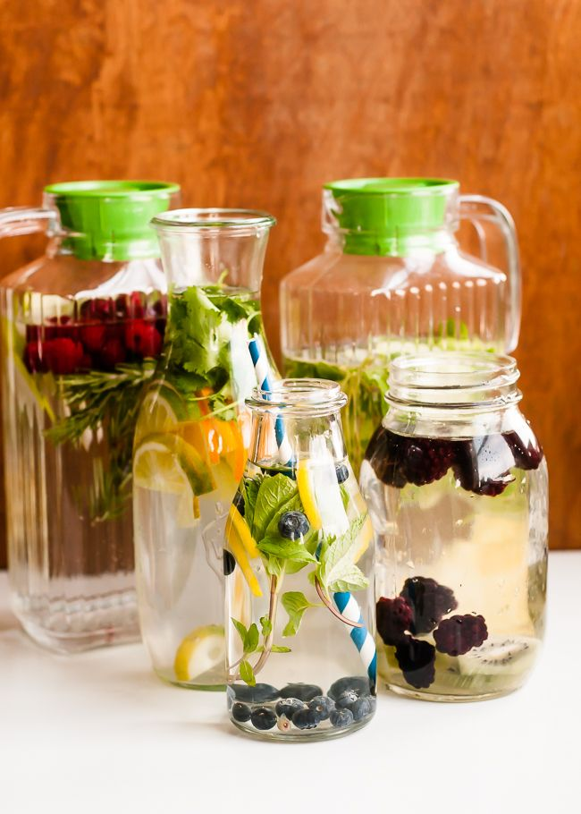 How to Make Infused Water   10 Tasty Flavor Combinations   http://helloglow.co/infused-water-ideas/
