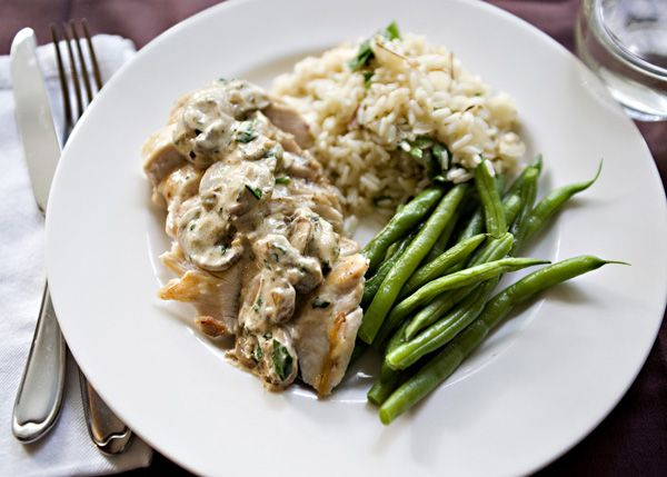 Chicken with Boursin Mushroom Sauce | Source:  America's Test Kitchen 30-Minute Suppers |  Boursin cheese is a perfect snack spread on some crackers with a glass of wine.  It makes a mean garlic bread.  It also makes a ridiculously easy sauce.  For pasta or for chicken like this one.  This quick chicken recipe is fast becoming a new staple in my weekly meal plans. | From: bakedbree.com