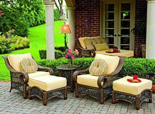 Woodard Belmar Wicker 5-Piece Conversation Package by Woodard. $3696.95. Dozens of fabrics to choose from including Sunbrella Premium Outdoor Fabric. Constructed of cutting-edge, hand-woven synthetic fibers. Suitable for Commercial and Hospitality Settings (extremely durable). Sturdy, extruded aluminum frames. Belmar's scrolling, variegated honey wicker latticework will make your backyard come alive with the feel of a Victorian springtime. Sink into Belmar's plush, thick de...