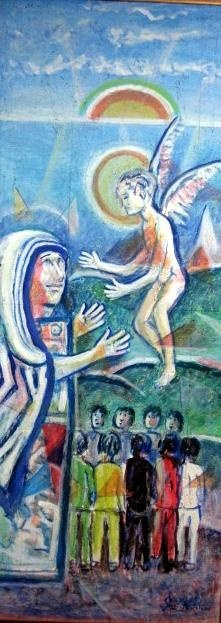 Ibrahim Kodra - L'angelo incontra Madre Teresa di Calcutta  http://www.extramoeniart.it/mi-ritorna-in-mente/ibrahim-kodra-sogni-d-albania-e-velieri-sul-mediterraneo