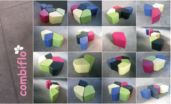"Combiflò on Behance. Modular, eco pouf that allows a fnny ""space tiling"" with infinite combinations."