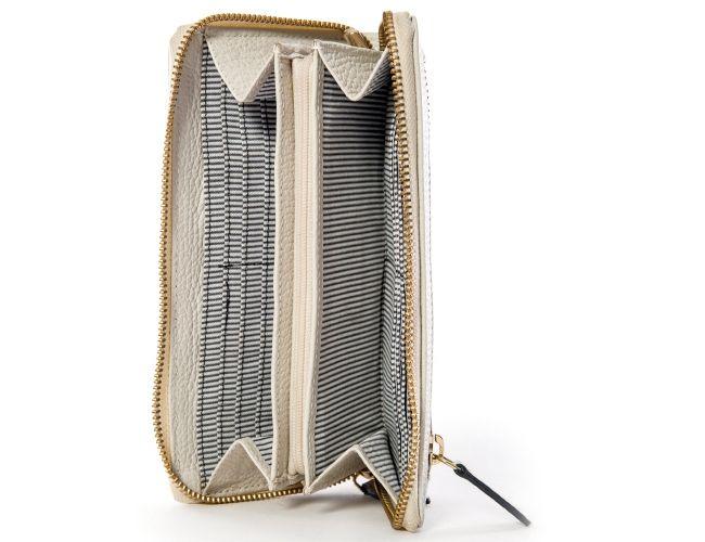 Saksalaisen Sina Jo -merkin kaunis luonnonvalkoinen nahkalompakko. Kaunis, pehmeä nahka on miellyttävä kädessä etkä halua laskea lompakkoa takaisin laukkuun. Lompakko on tilava ja käytännöllinen. Siinä on 12 korttipaikkaa ja useita lokeroita ja vetoketjutaskuja. - Sina Jo nahkalompakko, luonnonvalkoinen