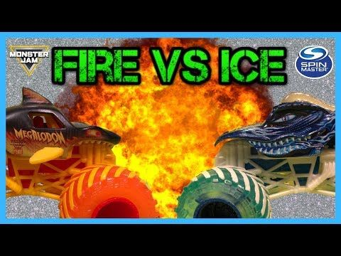 Monster Jam Fire And Ice Showdown Tournament Giveaway Video Megalodon Vs Dragon Youtube In 2020 Monster Jam Fire And Ice Monster Trucks