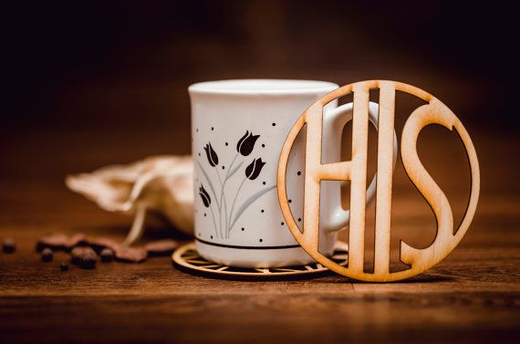 HIS-Wooden Coaster for mug-laser cut-for tea or coffe cup-drink-A004