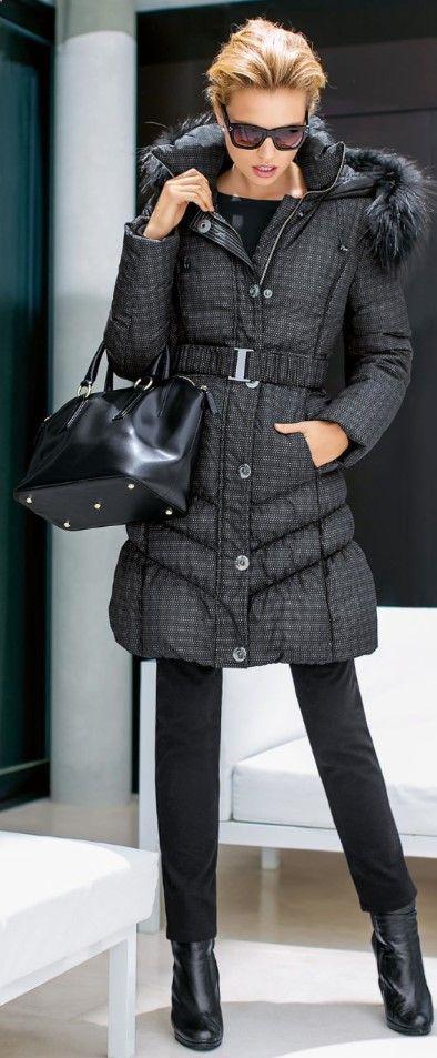 Women fashion clothing outfit style jacket black fur handbag pants boots sunglasses winter autumn