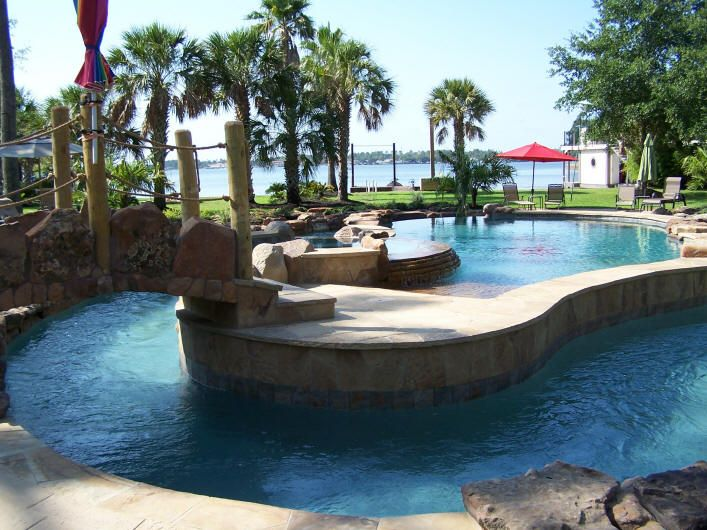 Build Backyard Lazy River : outdoor spaces outdoor living louis builders louis swimming divng