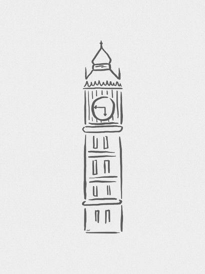 torre relogio desenho tatto