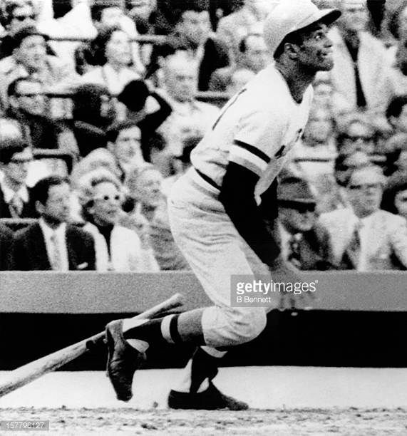 Roberto Clemente of the Pittsburgh Pirates homers in the forth inning against the Baltimore Orioles in Game 7 of the 1971 World Series on October 17...