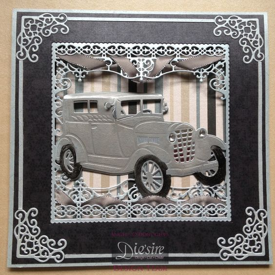 Card using Crafter's Comopanion Downton Abbey Vintage Car Create a Card, designed by Angela O'Donoghue #crafterscompanion #DowntonAbbey