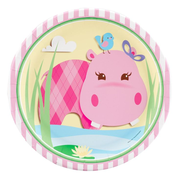 Hippo Pink Dinner Plates from BirthdayExpress.com