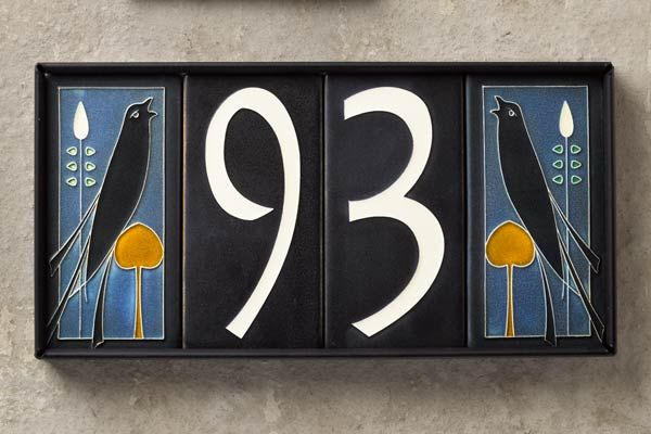 flor and fauna motif hand pressed tiles in frame from motawi tileworks, ceramic house numbers shopping
