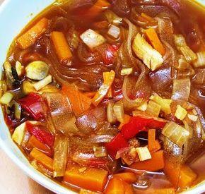 Exquisito Vegetariano!: Sopa china de fideos de celofán, setas y tofú