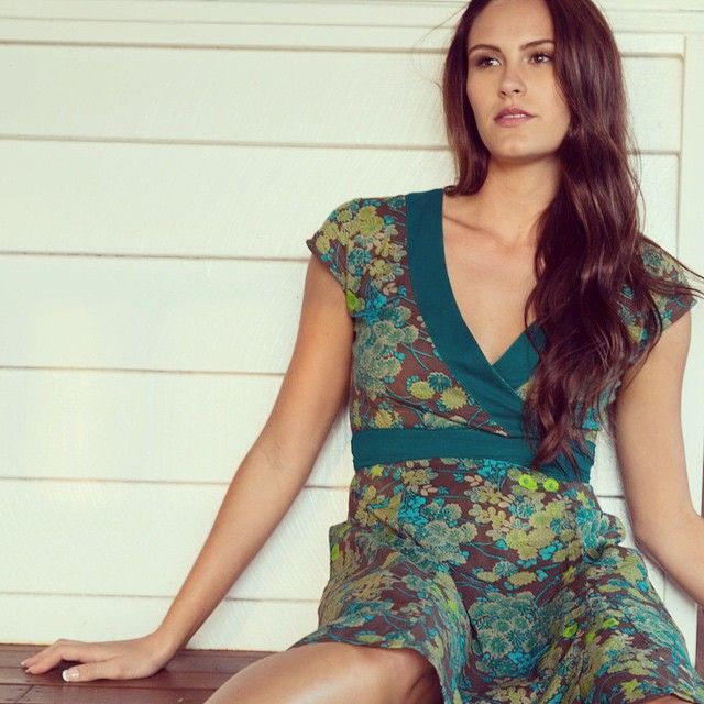 MahaShe Wrap Dress Floral Turquoise