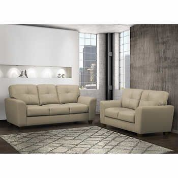 Joel Taupe Top Grain Leather Sofa and Loveseat