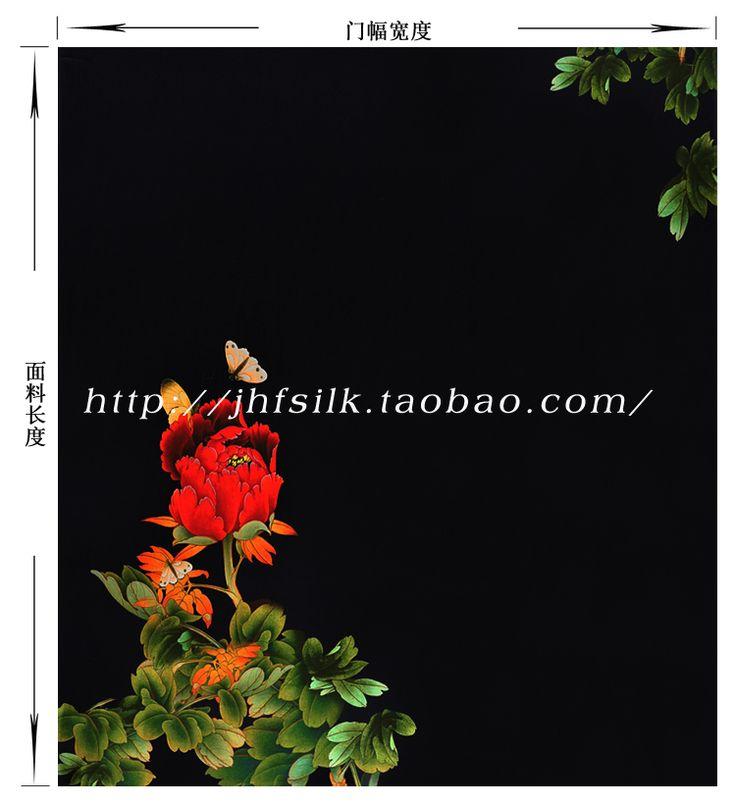 Jinhong фу китайский стиль cheongsam шелк печать на ткани геопозиционирования 120 широкий черный стрейч атласа красный пион великолепие купить на AliExpress