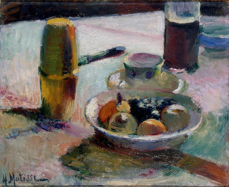 Henri Matisse, Frutta e caffettiera, olio su tela, 1898, San Pietroburgo, Museo Hermitage