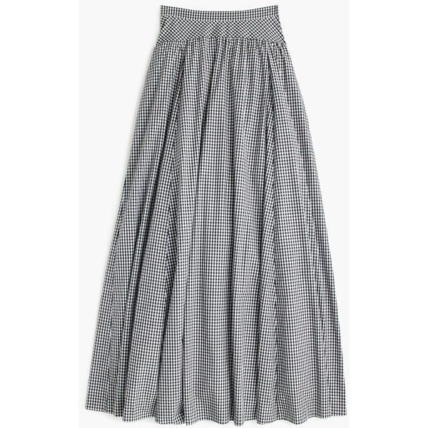 J.Crew Ball Skirt ($250) ❤ liked on Polyvore featuring skirts, j crew maxi skirt, ball skirts, j crew skirts, floor length skirts and gingham skirt