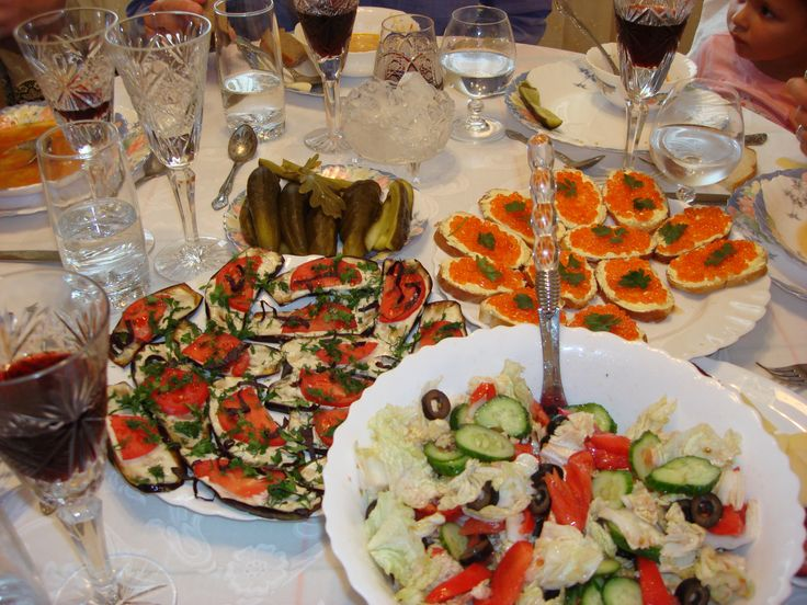 A zakuski (from the Russian закуски singular закуска, zakuska) is a Russian term for hot and cold hors d'oeuvres, snacks, appetizers, served before meals.[1] Usually presented buffet style, it often consists of cured meats and fishes, various pickled vegetables such as beets, cucumbers,[2] and garlic, mixed salads, hard cheeses,[2] caviar,[2] and breads.[2]  These appetizers are often present at parties or receptions, especially in Armenia and Russia.
