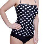 Winki Swim Women's Polka Dots Bandeau Top High Waisted Bottom