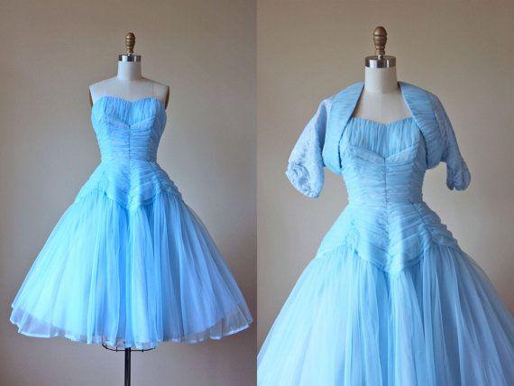 1950s Party Dress - Vintage 50s Dress - Blue Chiffon Draped Strapless Cinderella…